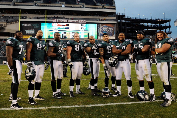 PHILADELPHIA, PA - JANUARY 01:  Members of the Philadelphia Eagles defense stand for a photo after defeating the Washington Redskins 34-10 at Lincoln Financial Field on January 1, 2012 in Philadelphia, Pennsylvania.  (Photo by Patrick McDermott/Getty Images)