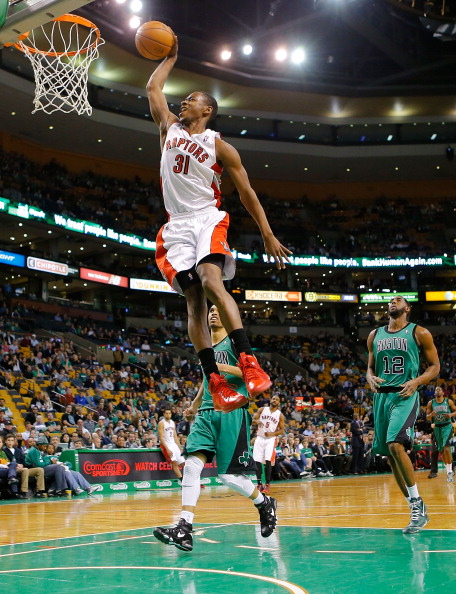 BOSTON, MA - MARCH 13: Terrence Ross #31 of the Toronto Raptors dunks against the Boston Celtics during the game on March 13, 2013 at TD Garden in Boston, Massachusetts. NOTE TO USER: User expressly acknowledges and agrees that, by downloading and or using this photograph, User is consenting to the terms and conditions of the Getty Images License Agreement. (Photo by Jared Wickerham/Getty Images)