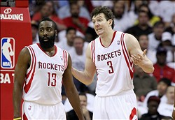 Apr 27, 2013; Houston, TX, USA; Houston Rockets shooting guard James Harden (13) and center Omer Asik (3) react to a call during the first quarter against the Oklahoma City Thunder during game three in the first round of the 2013 NBA playoffs at the Toyota Center. Mandatory Credit: Troy Taormina-USA TODAY Sports