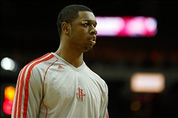 Nov 21, 2012; Houston, TX, USA; Houston Rockets power forward Terrence Jones (6) warms up against the Chicago Bulls during the first quarter at the Toyota Center. Mandatory Credit: Thomas Campbell-USA TODAY Sports