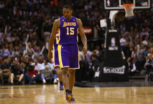 SAN ANTONIO, TX - APRIL 21:  Metta World Peace #15 of the Los Angeles Lakers during Game One of the Western Conference Quarterfinals of the 2013 NBA Playoffs at AT&T Center on April 21, 2013 in San Antonio, Texas. NOTE TO USER: User expressly acknowledges and agrees that, by downloading and or using this photograph, User is consenting to the terms and conditions of the Getty Images License Agreement.  (Photo by Ronald Martinez/Getty Images)
