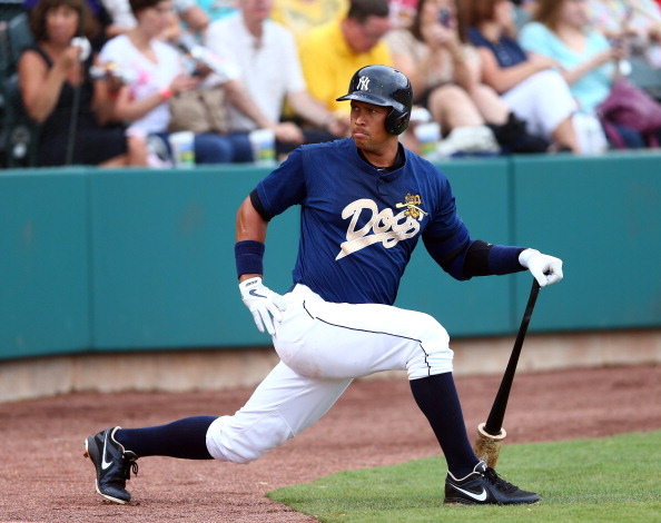 CHARLESTON, SC - JULY 02:  Alex Rodriguez of the New York Yankess stretches before his at bat during his game for the Charleston RiverDogs at Joseph P. Riley Jr. Park on July 2, 2013 in Charleston, South Carolina.  (Photo by Streeter Lecka/Getty Images)