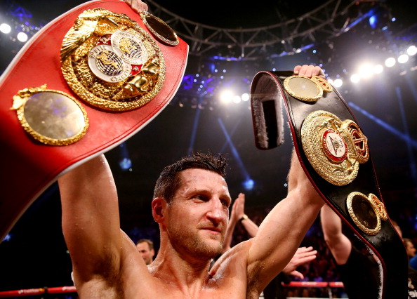 LONDON, ENGLAND - MAY 25:  Carl Froch of England celebrates his victory over Mikkel Kessler of Denmark during their Super Middleweight Unification bout at the O2 Arena on May 25, 2013 in London, England.  (Photo by Scott Heavey/Getty Images)