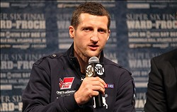 Dec 13; New York, NY, USA; Carl Froch speaks at the final press conference for his bout against Andre Ward (not pictured).  Mandatory Credit: Ed Mulholland-USA TODAY Sports