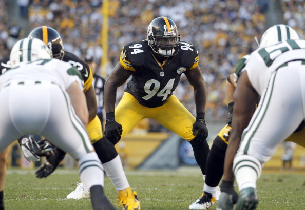 PITTSBURGH, PA - SEPTEMBER 16:  Lawrence Timmons #94 of the Pittsburgh Steelers awaists the snap against the New York Jets during the game on September 16, 2012 at Heinz Field in Pittsburgh, Pennsylvania.  (Photo by Justin K. Aller/Getty Images)