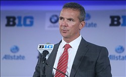 Jul 24, 2013; Chicago, IL, USA; Ohio State Buckeyes head coach Urban Meyer speaks during the Big Ten media day at the Chicago Hilton. Mandatory Credit: Jerry Lai-USA TODAY Sports