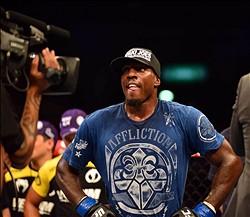 Aug 3, 2013; Rio De Janeiro, Brazil; Phil Davis (pink shorts) celebrates after defeating Lyoto Machida (not pictured) during UFC 163 at HSBC Arena. Mandatory Credit: Jason Silva-USA TODAY Sports