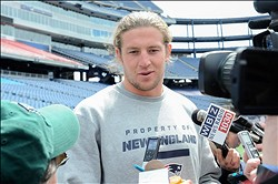 May 3, 2013; Foxboro, MA USA; New England Patriots rookie Zach Sudfeld talks with the media during rookie minicamp at Gillette Stadium. Mandatory Credit: Bob DeChiara-USA TODAY Sports