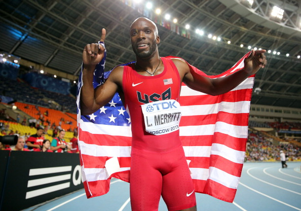 MOSCOW, RUSSIA - AUGUST 13:  LaShawn Merritt of the United States celebrates winning gold in the Men's 400 metres final during Day Four of the 14th IAAF World Athletics Championships Moscow 2013 at Luzhniki Stadium on August 13, 2013 in Moscow, Russia.  (Photo by Ian Walton/Getty Images)