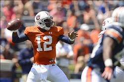 Apr 20, 2013; Auburn, AL, USA; Auburn quarterback Jonathan Wallace  drops back to pass during their A-Day spring game at Jordan-Hare Stadium. Mandatory Credit: John David Mercer-USA TODAY Sports
