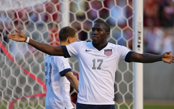 SANDY, UT - JUNE 18: Jozy Altidore #17 of the United States celebrates  his goal against Honduras during the second half of an World Cup Qualifying March June 18, 2013 at Rio Tinto Stadium in Sandy, Utah. The USA beat Honduras 1-0. (Photo by George Frey/Getty Images)