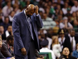Apr 28, 2013; Boston, MA, USA; New York Knicks head coach Mike Woodson reacts against the Boston Celtics during game four of the first round of the 2013 NBA playoffs at TD Garden. Mandatory Credit: Mark L. Baer-USA TODAY Sports