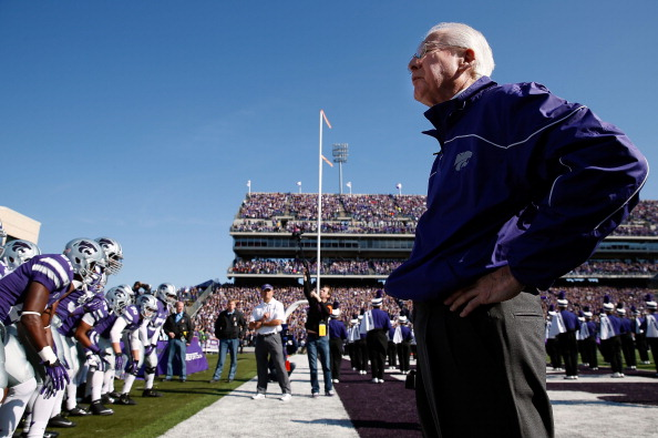 MANHATTAN, KS - OCTOBER 27:  Head coach Bill Snyder of the Kansas State Wildcats watches during player introductions during the game against the Texas Tech Red Raiders at Bill Snyder Family Football Stadium on October 27, 2012 in Manhattan, Kansas.  (Photo by Jamie Squire/Getty Images)