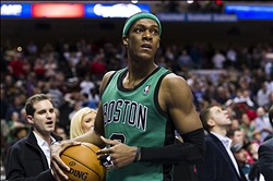 Dec 07, 2012; Philadelphia, PA, USA; Boston Celtics guard Rajon Rondo (9) during the fourth quarter against the Philadelphia 76ers at the Wachovia Center. The Sixers defeated the Celtics 95-94 in overtime. Mandatory Credit: Howard Smith-USA TODAY Sports