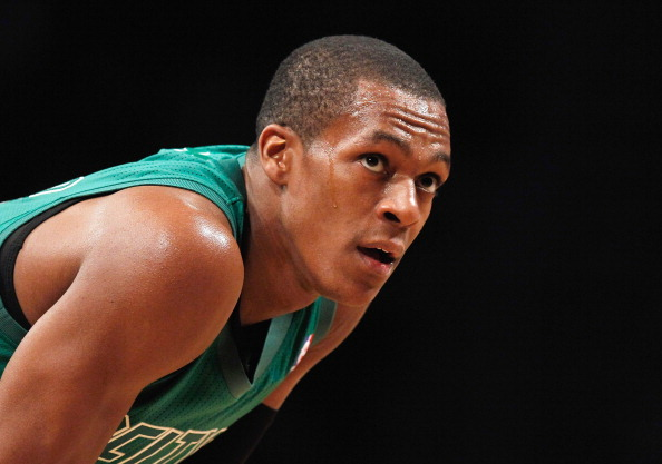 NEW YORK, NY - DECEMBER 25:  Rajon Rondo #9 of the Boston Celtics looks on against the Brooklyn Nets at the Barclays Center on December 25, 2012 in the Brooklyn borough of New York City. NOTE TO USER: User expressly acknowledges and agrees that, by downloading and/or using this photograph, user is consenting to the terms and conditions of the Getty Images License Agreement.  (Photo by Mike Stobe/Getty Images)