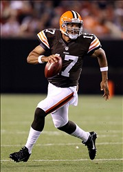 Aug 8, 2013; Cleveland, OH, USA; Cleveland Browns quarterback Jason Campbell (17) scrambles against the St. Louis Rams during the second quarter at FirstEnergy Field. Mandatory Credit: Ron Schwane-USA TODAY Sports
