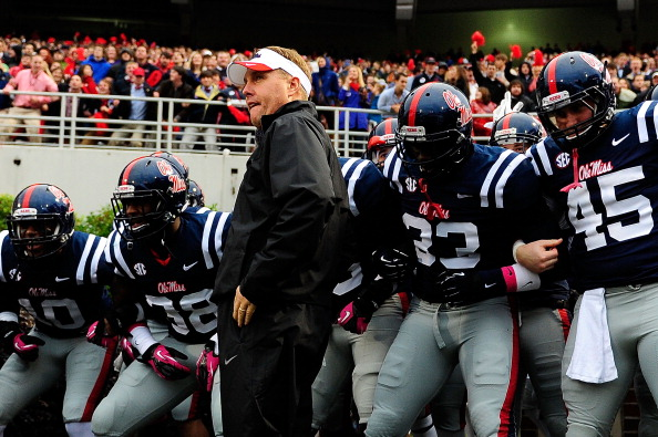 OXFORD, MS - OCTOBER 06:  Head coach Hugh Freeze of the Ole Miss Rebels prepares to bring his team onto the field for a game against the Texas A&M Aggies  at Vaught-Hemingway Stadium on October 6, 2012 in Oxford, Mississippi.  (Photo by Stacy Revere/Getty Images)