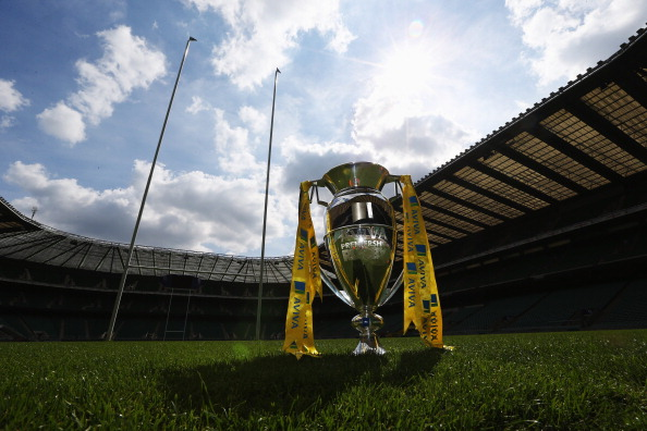 LONDON, ENGLAND - AUGUST 29:  The Aviva Premiership Trophy sits on the pitch at the Aviva Premiership Season Launch 2013-2014 at Twickenham Stadium on August 29, 2013 in London, England.  (Photo by David Rogers/Getty Images for Aviva)