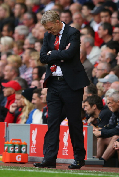 LIVERPOOL, ENGLAND - SEPTEMBER 01:  Manchester United Manager David Moyes looks on during the Barclays Premier League match between Liverpool and Manchester United at Anfield on September 01, 2013 in Liverpool, England.  (Photo by Alex Livesey/Getty Images)