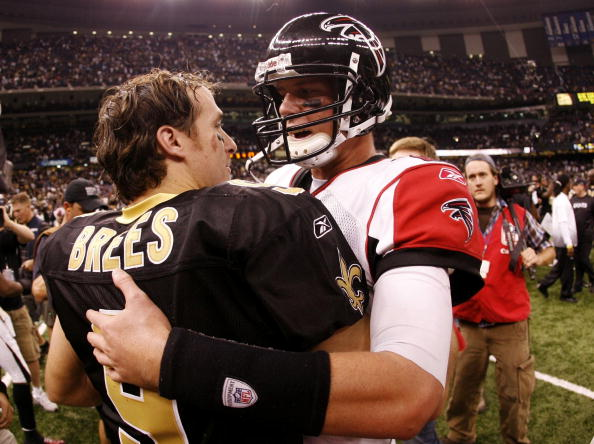 NEW ORLEANS - NOVEMBER 2:  Quarterback Drew Brees #9 of the New Orleans Saints greets quarterback Matt Ryan #2 of the Atlanta Falcons after the Saints 35-27 victory in the game at the Louisiana Superdome on November 2, 2009 in New Orleans, Louisiana. (Photo by Chris Graythen/Getty Images)