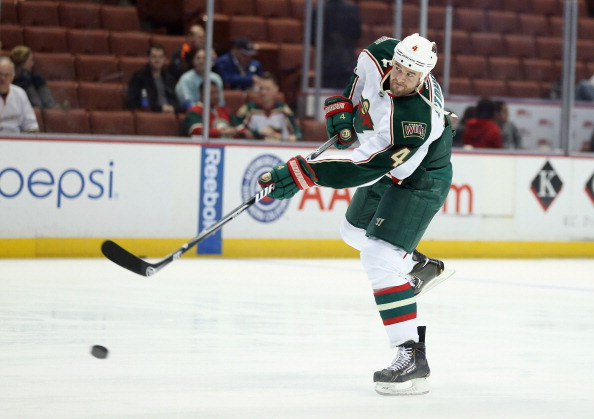 ANAHEIM, CA - MARCH 01:  Clayton Stoner #4 of the Minnesota Wild skates prior to the start of the game against the Anaheim Ducks at Honda Center on March 1, 2013 in Anaheim, California.  (Photo by Jeff Gross/Getty Images)