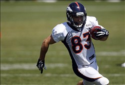 Aug 12, 2013; Englewood, CO, USA; Denver Broncos wide receiver Wes Welker (83) during training camp at the Broncos training facility. Mandatory Credit: Chris Humphreys-USA TODAY Sports