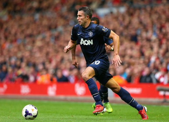 LIVERPOOL, ENGLAND - SEPTEMBER 01:  Robin van Persie of Manchester United in action during the Barclays Premier League match between Liverpool and Manchester United at Anfield on September 01, 2013 in Liverpool, England.  (Photo by Alex Livesey/Getty Images)