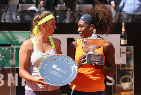 ROME, ITALY - MAY 19:  Serena Williams of the USA holds the winners trophy after her straight sets victory against Victoria Azarenka of Belarus in their final match during day eight of the Internazionali BNL d'Italia 2013 at the Foro Italico Tennis Centre  on May 19, 2013 in Rome, Italy.  (Photo by Clive Brunskill/Getty Images)