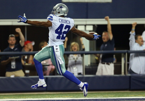 ARLINGTON, TX - SEPTEMBER 08:  Barry Church #42 of the Dallas Cowboys scores a touchdown on a fumble recovery against the New York Giants in the second half at AT&T Stadium on September 8, 2013 in Arlington, Texas.  (Photo by Ronald Martinez/Getty Images)
