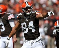 Sep 8, 2013; Cleveland, OH, USA; Cleveland Browns tight end Jordan Cameron (84) against the Miami Dolphins during the second quarter at FirstEnergy Field. Mandatory Credit: Ron Schwane-USA TODAY Sports