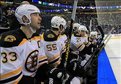 Feb 10, 2013; Buffalo, NY, USA; A general view of the Boston Bruins bench during the game against the Buffalo Sabres at the First Niagara Center. Bruins beat the Sabres 3-1. Mandatory Credit: Kevin Hoffman-USA TODAY Sports