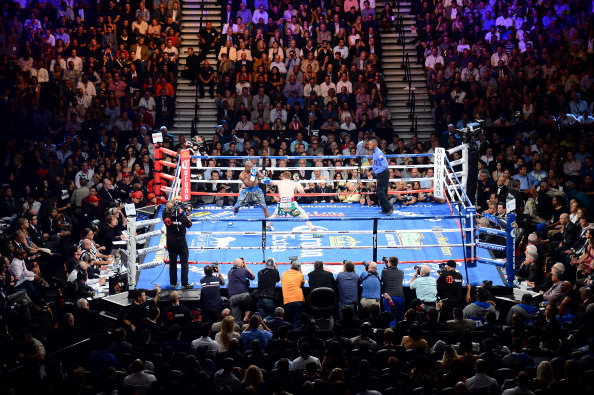 LAS VEGAS, NV - SEPTEMBER 14:  A general view as Floyd Mayweather Jr. takes on Canelo Alvarez during their WBC/WBA 154-pound title fight at the MGM Grand Garden Arena on September 14, 2013 in Las Vegas, Nevada.  (Photo by Ethan Miller/Getty Images)