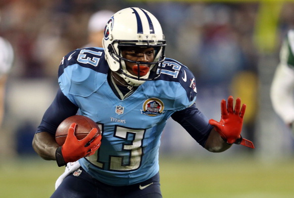 NASHVILLE, TN - DECEMBER 17:  Wide receiver Kendall Wright #13 of the Tennessee Titans runs with the ball against the New York Jets at LP Field on December 17, 2012 in Nashville, Tennessee.  (Photo by Andy Lyons/Getty Images)