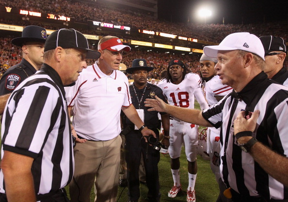 TEMPE, AZ - SEPTEMBER 14:  Head coach Gary Andersen of the Wisconsin Badgers reacts to the referees following a 32-30 defeat to the Arizona State Sun Devils in the college football game at Sun Devil Stadium on September 14, 2013 in Tempe, Arizona.  (Photo by Christian Petersen/Getty Images)