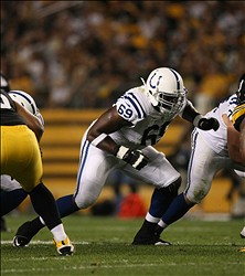 Aug 19, 2012; Pittsburgh , PA, USA; Indianapolis Colts tackle Winston Justice (69) blocks against the Pittsburgh Steelers during the first half of the game at Heinz Field. Mandatory Credit: Jason Bridge-USA TODAY Sports