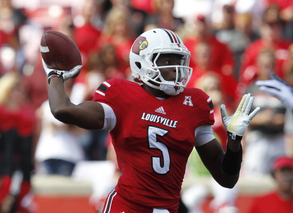 LOUISVILLE, KY - SEPTEMBER 21: Teddy Bridgewater #5 of the Louisville Cardinals throws a pass during the game against Florida International Panthers at Papa John's Cardinal Stadium on September 21, 2013 in Louisville, Kentucky.  (Photo by John Sommers II/Getty Images)