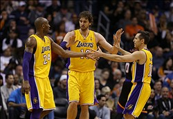 Jan. 30, 2013; Phoenix, AZ, USA: Los Angeles Lakers guard Kobe Bryant (left), forward Pau Gasol (center) and guard Steve Nash against the Phoenix Suns at the US Airways Center. Mandatory Credit: Mark J. Rebilas-USA TODAY Sports