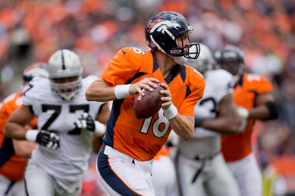 DENVER, CO - SEPTEMBER 30:  Quarterback Peyton Manning #18 of the Denver Broncos looks to pass against the Oakland Raiders at Sports Authority Field Field at Mile High on September 30, 2012 in Denver, Colorado. (Photo by Justin Edmonds/Getty Images)