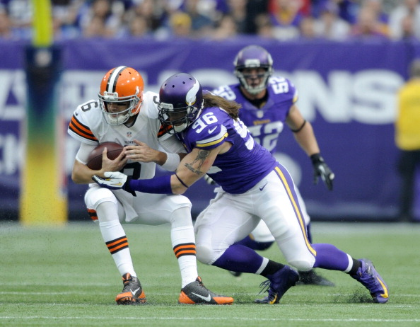 MINNEAPOLIS, MN - SEPTEMBER 22: Brian Robison #96 of the Minnesota Vikings sacks Brian Hoyer #6 of the Cleveland Browns during the game on September 22, 2013 at Mall of America Field at the Hubert H. Humphrey Metrodome in Minneapolis, Minnesota. (Photo by Hannah Foslien/Getty Images)