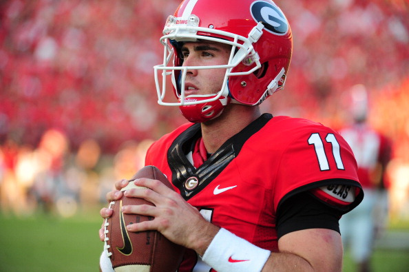 ATHENS, GA - SEPTEMBER 7: Aaron Murray #11 of the Georgia Bulldogs warms up during the game against the South Carolina Gamecocks at Sanford Stadium on September 7, 2013 in Athens, Georgia. (Photo by Scott Cunningham/Getty Images)