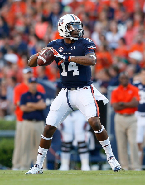 AUBURN, AL - SEPTEMBER 14:  Nick Marshall #14 of the Auburn Tigers against the Mississippi State Bulldogs at Jordan-Hare Stadium on September 14, 2013 in Auburn, Alabama.  (Photo by Kevin C. Cox/Getty Images)