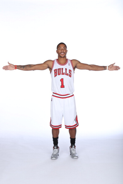 DEERFIELD, IL - SEPTEMBER 27:  Derrick Rose #1 of the Chicago Bulls poses for a portrait during media day on September27, 2013 at Berto Center in Deerfield, Illinois. NOTE TO USER:  User expressly acknowledges and agrees that, by downloading and or using this Photograph, user is consenting to the terms and conditions of the Getty Images License Agreement.  Mandatory Copyright Notice:  Copyright 2013 NBAE (Photo by Gary Dineen/NBAE via Getty Images)