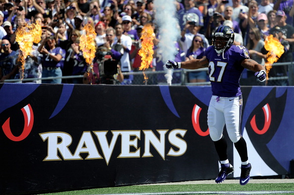 BALTIMORE, MD - SEPTEMBER 15:  Running back Ray Rice #27 of the Baltimore Ravens is introduced before the start of the Ravens and Cleveland Browns game at M&T Bank Stadium on September 15, 2013 in Baltimore, Maryland. (Photo by Patrick McDermott/Getty Images)