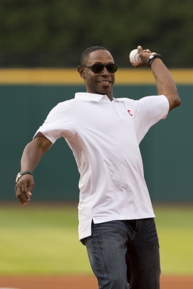 CLEVELAND, OH - JUNE 21: Former Cleveland Indians great Kenny Lofton throws out the ceremonial first pitch prior to the game between the Cleveland Indians and the Minnesota Twins at Progressive Field on June 21, 2013 in Cleveland, Ohio. (Photo by Jason Miller/Getty Images)