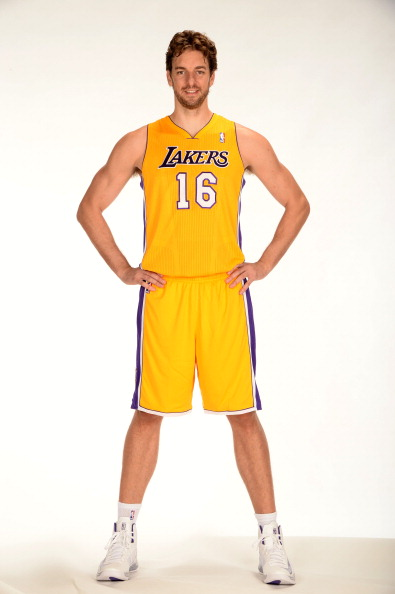 EL SEGUNDO, CA - SEPTEMBER 28:  Pau Gasol #16 of the Los Angeles Lakers poses for a picture during media day at Toyota Sports Center on September 28, 2013 in El Segundo, California. NOTE TO USER: User expressly acknowledges and agrees that, by downloading and/or using this Photograph, user is consenting to the terms and conditions of the Getty Images License Agreement. Mandatory Copyright Notice: Copyright 2013 NBAE (Photo by Andrew D. Bernstein/NBAE via Getty Images)