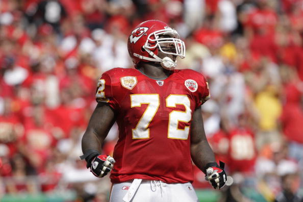 KANSAS CITY, MO - SEPTEMBER 20:  Glenn Dorsey #72 of the Kansas City Chiefs reacts during the game against the Oakland Raiders at Arrowhead Stadium on September 20, 2009 in Kansas City, Missouri. (Photo by Jamie Squire/Getty Images)