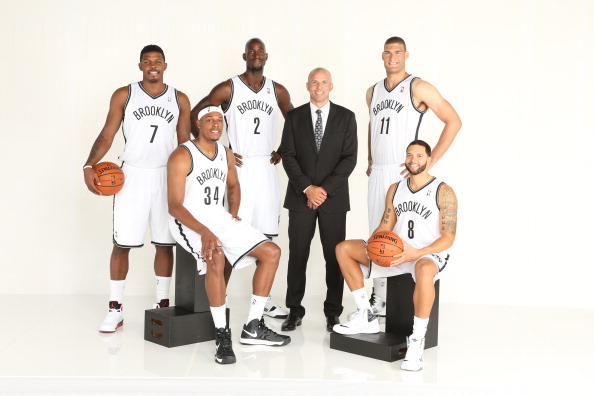 BROOKLYN, NY - SEPTEMBER 30: (L-R) Joe Johnson #7, Paul Pierce #34, Kevin Garnett #2, Head Coach Jason Kidd, Brook Lopez #11, and Deron Williams #8 of the Brooklyn Nets pose for a portrait during Media Day at the Barclays Center in Brooklyn, NY. NOTE TO USER: User expressly acknowledges and agrees that, by downloading and or using this photograph, User is consenting to the terms and conditions of the Getty Images License Agreement. Mandatory Copyright Notice: Copyright 2013 NBAE (Photo by Nathaniel S. Butler/NBAE via Getty Images)