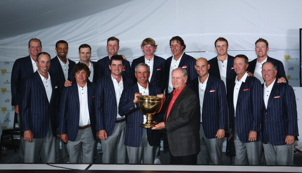 DUBLIN, OH - OCTOBER 06:  U.S. Team members (back row, L-R) Steve Stricker, Tiger Woods, Zach Johnson, Webb Simpson, Brandt Snedeker, Phil Mickelson, Jordan Spieth, Hunter Mahan (front row, L-R) Matt Kuchar, Jason Dufner, Keegan Bradley, Fred Couples, Jack Nicklaus, Bill Haas, Davis Love III and Jay Haas after the U.S. Team defeated the International Team 18.5 to 15.5 at Muirfield Village Golf Club on October 6, 2013  in Dublin, Ohio.  (Photo by Andy Lyons/Getty Images)