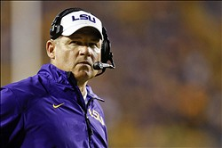 Sep 14, 2013; Baton Rouge, LA, USA; LSU Tigers head coach Les Miles against the Kent State Golden Flashes during the second half of a game at Tiger Stadium. LSU defeated Kent State 45-13. Mandatory Credit: Derick E. Hingle-USA TODAY Sports