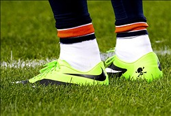 Oct 10, 2013; Chicago, IL, USA; A detailed view of Chicago Bears wide receiver Brandon Marshall (15) shoes against the New York Giants before the game at Soldier Field. Mandatory Credit: Mike DiNovo-USA TODAY Sports
